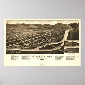 Missoula Montana 1884 Antique Panoramic Map Print