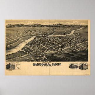 Missoula Montana 1891 Antique Panoramic Map Print