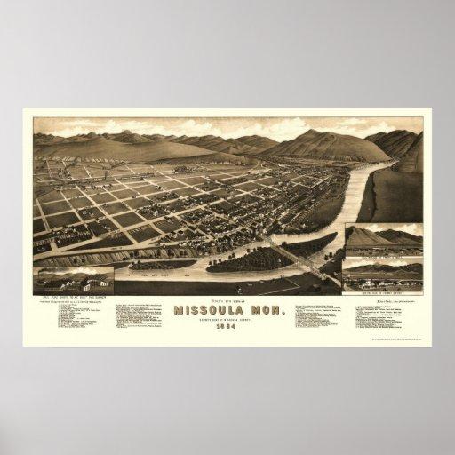 Missoula, MT Panoramic Map - 1884 Poster