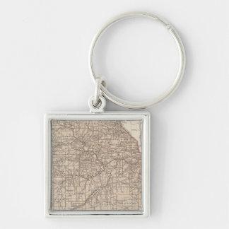 Missouri Atlas Map Silver-Colored Square Key Ring