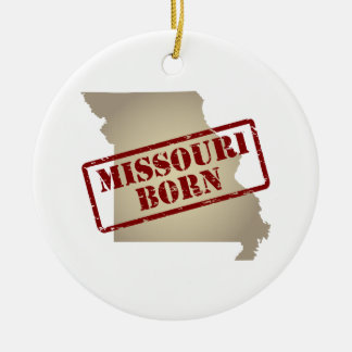 Missouri Born - Stamp on Map Double-Sided Ceramic Round Christmas Ornament