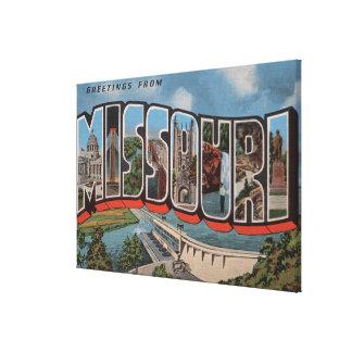 Missouri (Dam View) - Large Letter Scenes Canvas Print