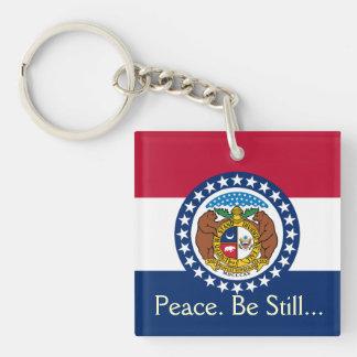 Missouri Flag Peace Be Still Acrylic Keychain