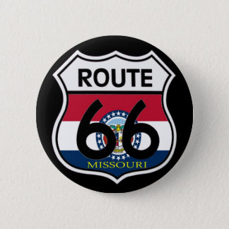 Missouri Flag Route 66 Shield 6 Cm Round Badge