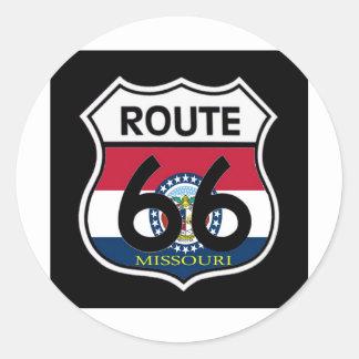 Missouri Flag Route 66 Shield Classic Round Sticker