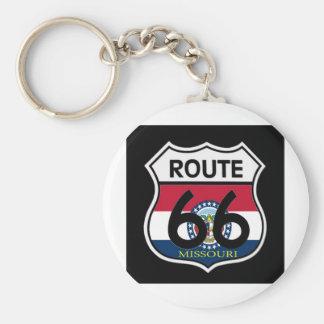 Missouri Flag Route 66 Shield Key Ring