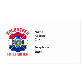 Missouri Flag Volunteer Firefighter Cross Business Cards