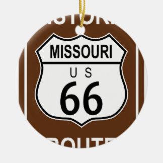 Missouri Historic Route 66 Round Ceramic Decoration