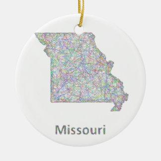 Missouri map christmas ornament