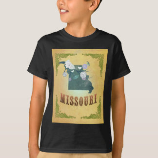 Missouri Map With Lovely Birds T-shirts