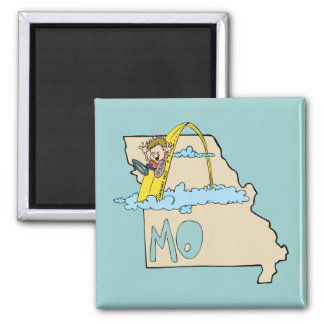 Missouri MO Map with Saint Louis Arch Cartoon Magnet