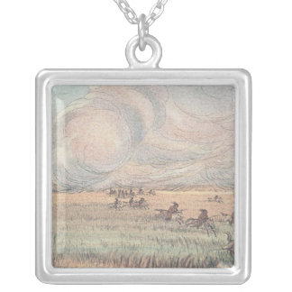 Missouri prairie fire silver plated necklace