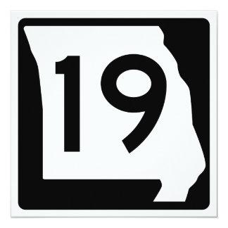 Missouri Route 19 13 Cm X 13 Cm Square Invitation Card