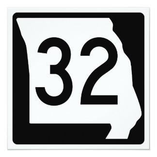 Missouri Route 32 13 Cm X 13 Cm Square Invitation Card
