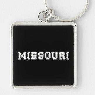 Missouri Silver-Colored Square Key Ring