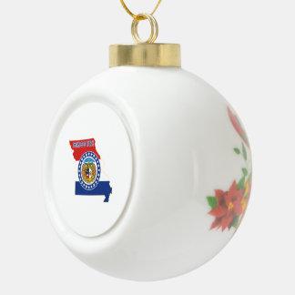 Missouri State Flag and Map Ceramic Ball Christmas Ornament