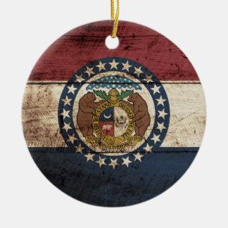 Missouri State Flag on Old Wood Grain Christmas Ornament
