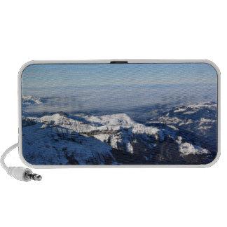 Mist in snowy mountain travelling speaker