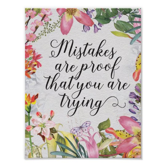 Mistakes are proof you are trying classroom gift