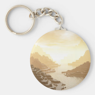 Misted Mountain River Passage Basic Round Button Key Ring