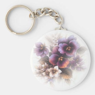 Misted Purple Pansies Key Ring