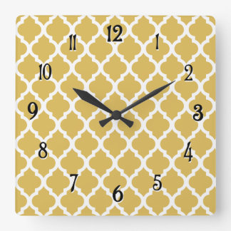 Misted Yellow Moroccan Tile Trellis Square Wall Clock
