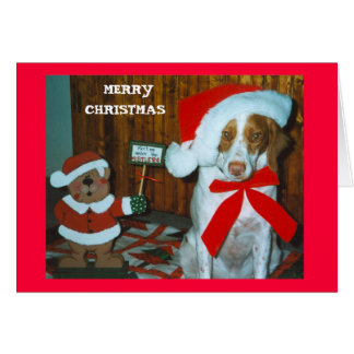 MISTLE TOE BRITTANY GREETING CARD