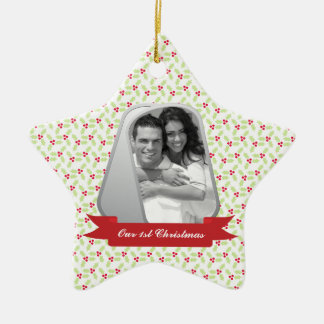 Mistletoe and Military Dog Tags Photo Ceramic Star Decoration