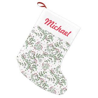 Mistletoe And Snowflake Pattern Small Christmas Stocking