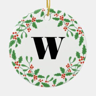Mistletoe Berry Wreath Monogram Ornament