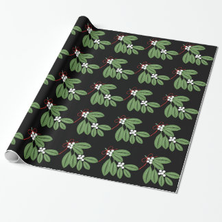 Mistletoe bunch with red ribbon Christmas holiday Wrapping Paper