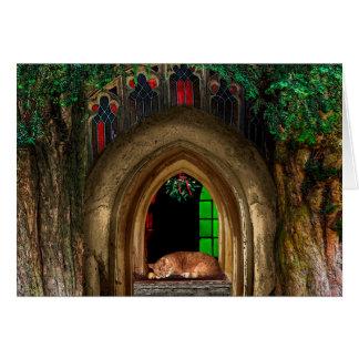 Mistletoe Church Cat Greeting Card
