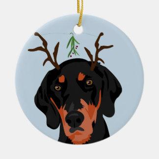 Mistletoe Coonhound Ornament