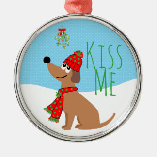 Mistletoe Dog Kisses Ceramic Ornament