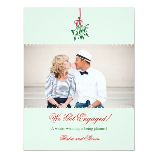 Mistletoe Engagement Photo Announcement