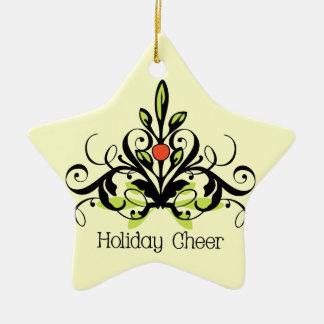 Mistletoe Holiday Cheer Double-Sided Star Ceramic Christmas Ornament