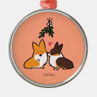 Mistletoe Kiss Corgi Ornament