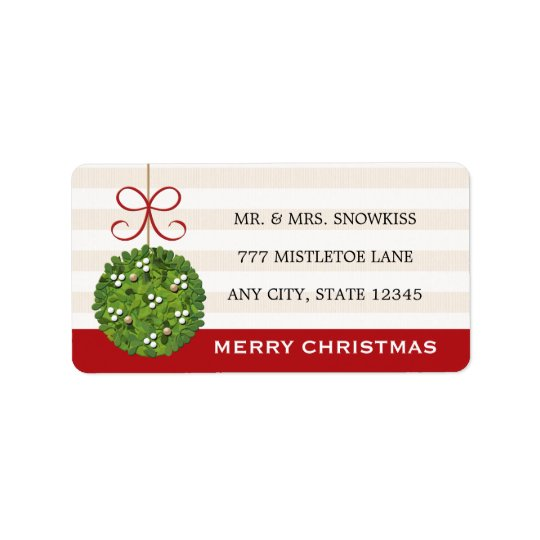Mistletoe Kissing Ball Return Address Labels