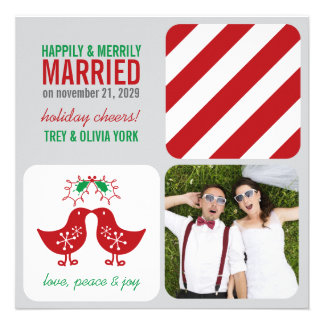 Mistletoe Kissing Chicks Photo Holiday Greeting Personalized Invitations