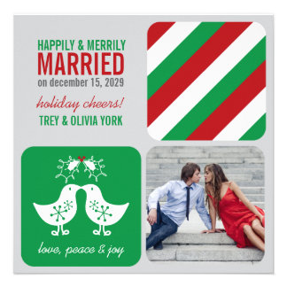 Mistletoe Kissing Chicks Photo Holiday Greeting Personalized Invite