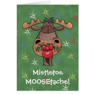 Mistletoe MOOSEtache Card