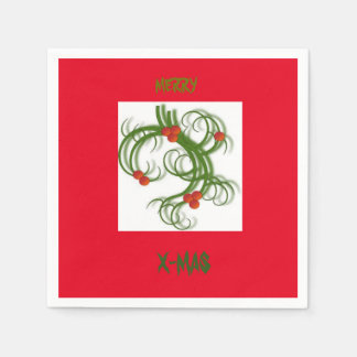 MISTLETOE RED CHRISTMAS NAPKINS PAPER NAPKIN