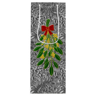 Mistletoe Silver Foil Look Pattern Wine Gift Bag