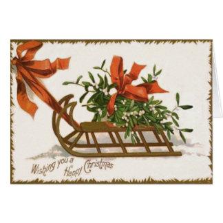Mistletoe Sleigh Sled Red Bow Card