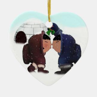 Mistletoe Time - Mistletoe Kissing Eskimos Ceramic Heart Decoration