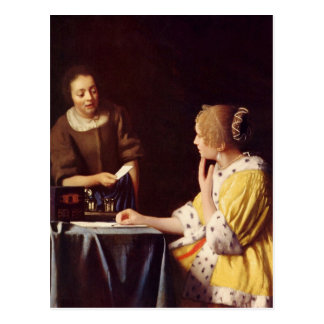 Mistress and maid by Johannes Vermeer Postcard
