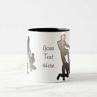 Mistress with femslave Silhouette Two-Tone Mug