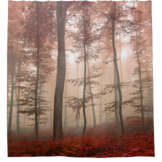 Misty Autumn Forest Shower Curtain