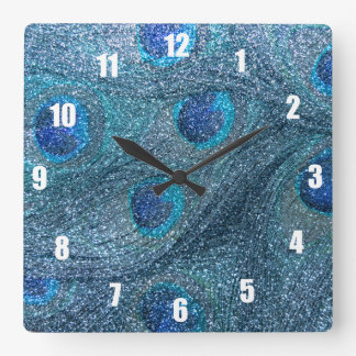 misty blue glitter peacock feathers square wall clock