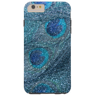 misty blue glitter peacock feathers tough iPhone 6 plus case